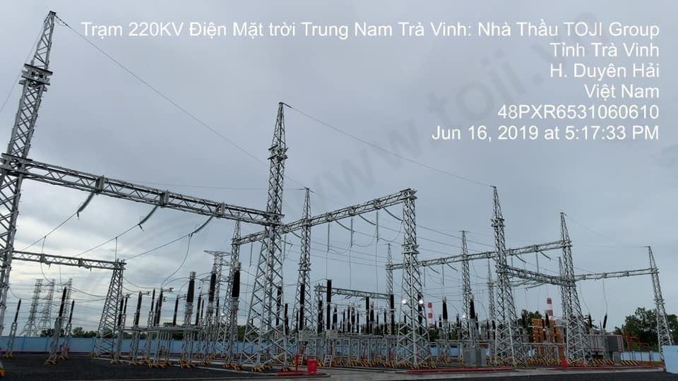 Đóng điện thành công trạm 220kV điện mặt trời Trung Nam Trà Vinh