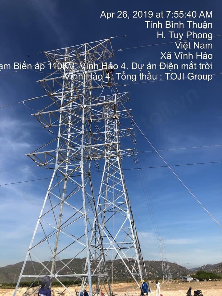 Đóng điện thành công trạm 110kv điện mặt trời Vĩnh Hảo 4