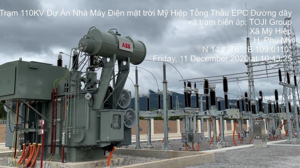Đóng điện thành công trạm 110kV nhà máy điện mặt trời Mỹ Hiệp